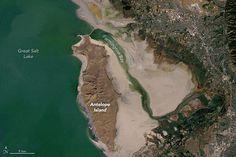 NASA images show Utah's Great Salt Lake shrinking dramatically