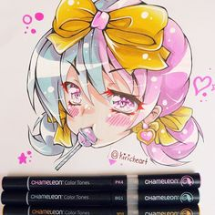 @kiricheart their stunning manga chibi illustration with two tone hair and a lollipop!