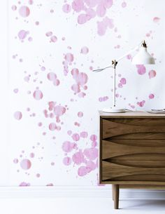 Pink Splatter print from the 'Light of Heart' Wallpaper Collection by Real Living's style editor Sarah Ellison.  Photo - Maree Homer.