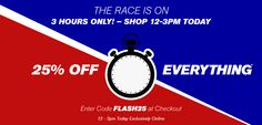 Wallis - 25% Off Everything - 3 Hours Only! I love the urgency and the clock!