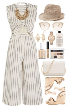 """How to wear: Madewell striped cutout jumpsuit."" by sinesnsingularities ❤ liked on Polyvore featuring Madewell, Kate Spade, Miu Miu, Michael Kors, LC Lauren Conrad, Alienina, Essie, Clinique, philosophy and NARS Cosmetics"