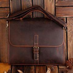 ROCKCOW Classic Leather Messenger Satchel Laptop Leather Briefcase Bag Leather Messenger Bag 8902 - ROCKCOWLEATHERSTUDIO