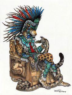 Tepeyollotl Jaguar/Earthquake god of the Aztecs, rules day-sign Calli (House)