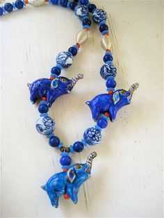 Sale Blue Elephants Necklace Antique Chinese by CatchingWaves