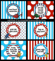 overworked supermom: supermom how-to: DIY party tabletop labels Dr Seuss Birthday Party, Twin First Birthday, 1st Boy Birthday, First Birthday Parties, Birthday Ideas, Birthday Board, Happy Birthday, Dr Suess Baby, Dr Seuss Baby Shower