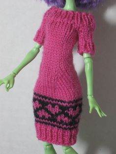 Knitted Sweater Dress with Hearts for Monster High. $10.00, via Etsy.