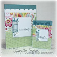 "Cards created with Close To My Heart ""Chantilly"" paper and Hello Tweety Stamp.  By Tamytha Jenkins of www.paperheartist.com for New Product Blog Hop."