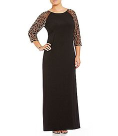 Leslie Fay Plus BeadedSleeve Gown #Dillards