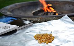 Hobo Popcorn. Basically popcorn made over the campfire.  Can't wait to try this one.    4 teaspoons oil 4 tablespoons popcorn melted butter salt Directions: 1 Other items needed: 4 (18 inch) squares of heavy duty foil, twine, green branch or roasting stick. 2 Into each foil square put 1 teaspoons oil and 1 tablespoons popcorn. 3 Bring corners together and twist to create a pack, tie with twine to green branch or roasting stick and place over hot coals (not in fire). 4 Shake often until…