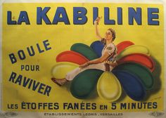 Original French Art Deco Poster, La Kabiline Fabric Dyes - Maucourt (after) #1925-1940 #1940 #affiche-francaise #affiches-francaises #art-deco #clothing #clothing-design #color #coloring #colour #colouring #dye #dyes #fabric #francais #francaise #france #french #horizontal #kabiline #linen-backed #linenbacked #over-sized #woman