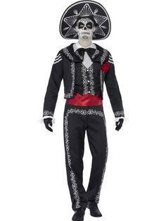Buy Adult Senor Bones Costume, available for Next Day Delivery. Scare the Living this Halloween as you Represent the Dead in our Adult Day of the Dead Señor Bones Costume!