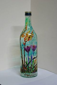 Beautifully+Hand+Painted+Wine+Bottle+with+Crocus+by+PersicaDesigns,+£38.00