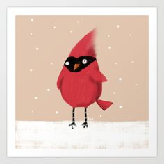 Winter Cardinal Art Print by Dale Keys | Society6