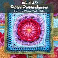 Block a Week CAL 2014 Block #37 Prince Protea Square Photo Tutorial and Pattern