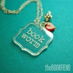 book worm acrylic necklace by BookFiend on Etsy, $12.00