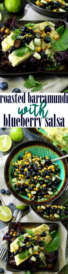 This recipe for Roasted Barramundi with Blueberry Salsa is quick and easy to make, full of healthy and antioxidant- rich ingredients, naturally-gluten free, and it's perfectly sweet and savory and delicious! Lobster Recipes, Fish Recipes, Seafood Recipes, Seafood Dinner, Fish And Seafood, Healthy Salad Recipes, Detox Recipes, Barramundi Fish Recipe, Clean Eating Dinner