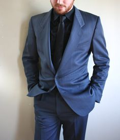 Vintage 1980s Mens Suit / 80s Gray Blue by RetroActiveNOLA on Etsy, $228.00