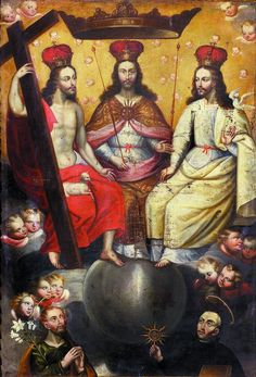 Blessed Trinity, shown as three identical Christ figures seated side by side. Saint Joseph (bottom left) and Saint Ignatius (bottom right). A product of the Cuzco School--name of painter lost to time. This type of depiction of the Trinity was banned in Europe following the Reformation; however, it found new life in a Latin America for which the Reformation never happened.