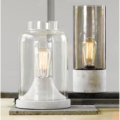 The Beacon Lighting Liam 1 light table lamp in concrete with clear jar shaped glass