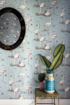 Flamingos by Cole & Son - Duck Egg - Wallpaper : Wallpaper Direct Flamingo Wallpaper, Marimekko Wallpaper, Duck Wallpaper, Harlequin Wallpaper, Cole And Son Wallpaper, Home Wallpaper, Morris Wallpapers, Blue Wallpapers, Blue Backgrounds