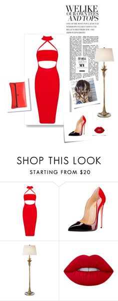 """""""Hot Red"""" by citlalisanchezd ❤ liked on Polyvore featuring Post-It, AERIN, Lime Crime and MOFE"""