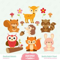 Woodland Animals Digital Clipart by SSGARDEN on Etsy, $3.99