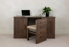 HIDING  THE DESK BY HIDING THE CHAIR Home Office Solid Oak Furniture Pinetum Q2 Desk Hidden Chairs