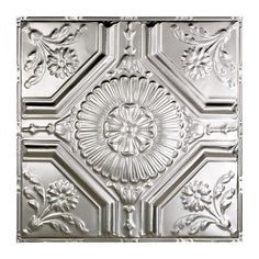 Great Lakes Tin Rochester Unfinished x Lay-In Ceiling Tile (Carton of x Silver(Metal) Tin Ceiling Tiles, Ceiling Panels, Tin Tiles, Crown Molding Styles, No Ceilings, Thing 1, Feet Nails, Metallic Colors, Great Lakes