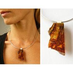 FREE Shipping Amber Pendant, Silver 925  orange, dark  honey, front polished, back raw, amberstone  NEW, UNIQUE von JewellryWithSoul auf Etsy