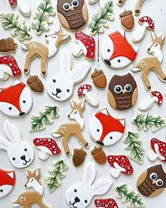 All hail Bambi - the prince of the forest! This delightful deer cookie cutter is perfect for kids' birthday parties, springtime garden parties, and even Disney movie marathons. If you're a fan of the Christmas Sugar Cookies, Holiday Cookies, Christmas Desserts, Christmas Treats, Christmas Baking, Iced Cookies, Cute Cookies, Royal Icing Cookies, Owl Cookies