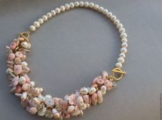 Купить Колье-Браслет РОЗОВЫЙ ФЛАМИНГО из розового опала , жемчуга - бледно-розовый