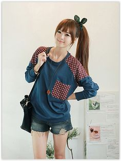 Korean Fashion & Beauty Sale, Up to 70% OFF! CLICK - Polka Dot Accent Sweatshirt