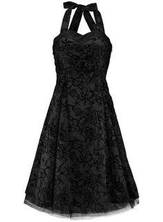 Rockabilly wedding  Dresses | Black Flocked Halter Dress Rockabilly Wedding Pinup 50's Swing ...