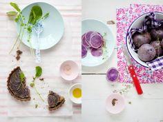 caramelized onion, fennel & purple potato tart