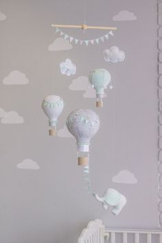 Mint and Grey, Elephant and Hot Air Balloon, Baby Mobile, Nursery Decor, Travel Theme Nursery, Circus Theme Nursery, i63