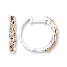 These Hoop Earrings Feature White Rose And Yellow Gold Braided Together In One Stylish Look