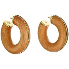 Aurélie Bidermann Women's Ali Hoops (3,165 CNY) ❤ liked on Polyvore featuring jewelry, earrings, colorless, hoop earrings, 18 karat gold earrings, braid jewelry, wooden jewelry and 18 karat gold jewelry