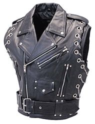 Chromed Out Leather Motorcycle Vest with Chains http://www.jaminleather.com/Mens-Leather-Vests-C2191.aspx