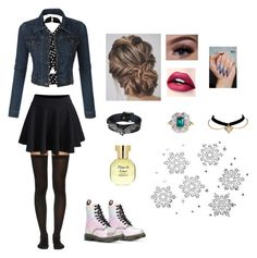 """Winter style!"" by slytherin-girl-hogwarts ❤ liked on Polyvore featuring Dr. Martens, Wolford, Arquiste Parfumeur, WithChic, LE3NO, Winter, chic, beautiful, snow and cold"
