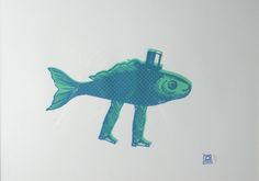 mr fish walking 2 colors blue and green serigraphie