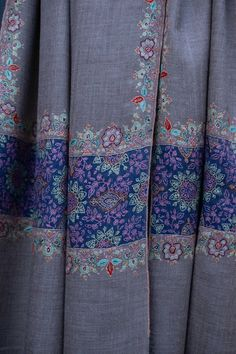 Kashmiri Shawl, Pure Pashmina, Hand Embroidery, Handwoven, Made in Kashmir Embroidery Needles, Hand Embroidery, Embroidery Designs, Cashmere Pashmina, Pashmina Shawl, Kashmiri Shawls, Chintz Fabric, Gold Earrings Designs, Cotton Thread