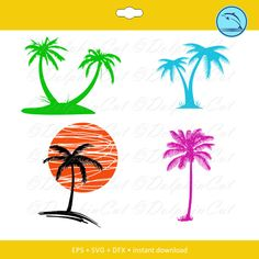 Palm Silhouettes, silhouette for cutting, scrapbooking Palm svg, dxf, eps vector printable files by DolphinCut on Etsy