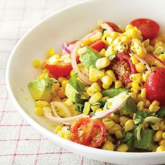Fresh Corn and Avocado Salad | Sunset magazine | Reader Kathy Kane, of Menlo Park, California, gave us this recipe in 2009, and we have made umpteen bowls of it since. It brings together everything that's best about summer: Sweet corn, ripe tomatoes, rich avocados, and spicy basil, with a bit of crisp red onion to give it punch.