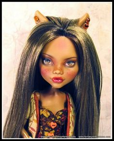OOAK Clawdeen Monster High Doll repaint and reroot. Full OOAK custom outfit and stand.  For sale on ETSY 11/1/14 ~ Fantasy Dolls