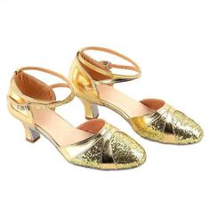 1920s Vintage Style Shimmer Round Toe Ankle Strap Tango Latin Dance Shoes