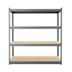 A shelving system that doubles as a workbench. The storage rack is supplied with uprights and a shelf, including beams. Shelving Systems, A Shelf, Beams, The Unit, Modern, Storage Rack, Home Decor, Products