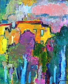 Vieux quartier de Moscou - Olga Vichneva peintre russe née en 1968 vivant en France Oil Painting Abstract, Abstract Art, Art Kandinsky, Fauvism, David Hockney, Classical Art, Matisse, Expressionism, Color Themes