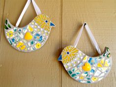 Set of Heart to Heart Yellow Love Birds by Heart2HeartMosaics on Etsy, $40.00