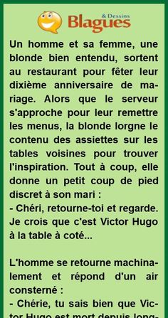 La blonde et Victor Hugo Victor Hugo, Humour Gore, Fitness Workout For Women, New Years Eve Party, Improve Yourself, Restaurants, Troll, Parties, Couture