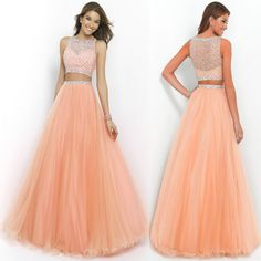 2015 New Two Piece Prom Ball Party Dresses Evening Gowns US Size 2 4 6 8 10 12 #romanticbridal #ALine #Formal